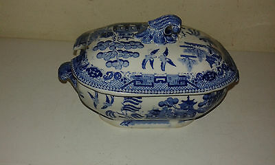 Antique blue and white willow pattern saucier (AF)