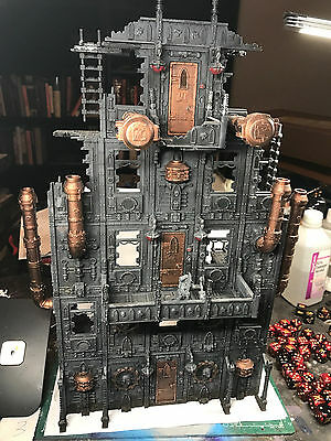 Warhammer 40K Scenery Painted Tall Manafactorum building Space Marine