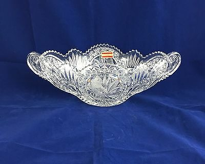 Large Echt Bleikristall 24% Lead Crystal Oval Bowl With Handles.