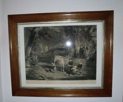 """Victorian Print in Fine Oak Frame of William Collins RA  painting """" Sunday"""""""