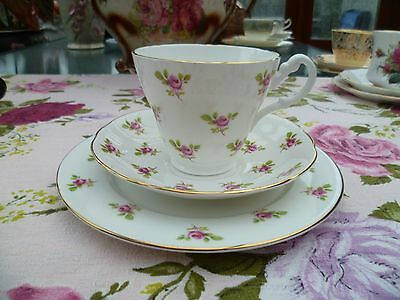 Lovely English China Trio Tea Cup Saucer Plate Little Pink Roses