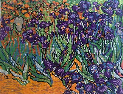 Irises Vincent Van Gogh - Hand Made Finished Cross Stitch Tapestry Needlework