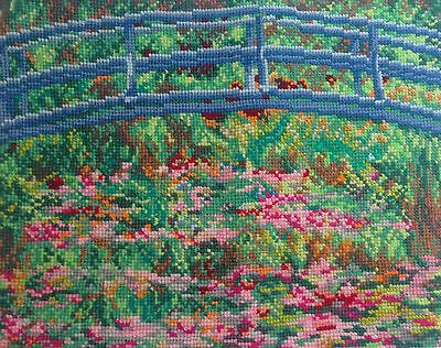 Water Lily Pond Claude Monet Hand Made Finished Cross Stitch Tapestry Needlework