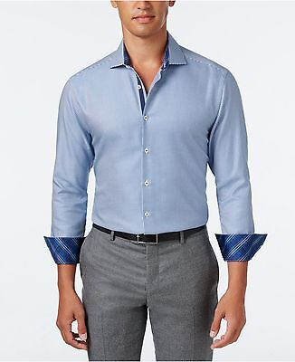 $277 MICHELSONS LONDON Men's SLIM-FIT BLUE WHITE CHECK LONG-SLEEVE DRESS SHIRT M