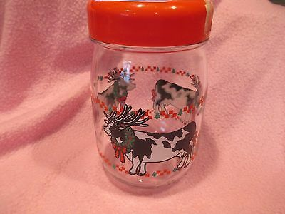 Vintage Collectible Sherwood Holiday Cows Butter Toffee Jar
