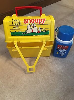 Go To School With Snoopy 1968 Vintage LUNCHBOX & THERMOS SET KING-SEELEY PEANUTS