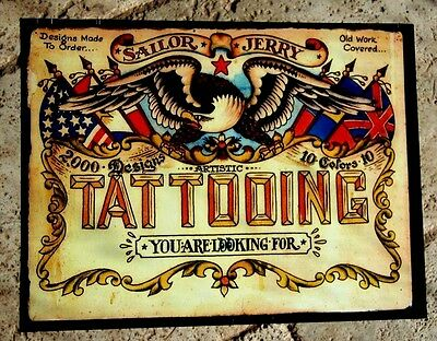 Tattoo Shop Poster Vintage Sailor Jerry Colorful Nice Supplies Flash