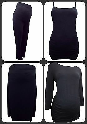 Maternity Black Trouser / Jersey Pant, Skirt, Cami, 3/4 Sleeve Top Size 14-16