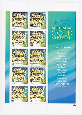 2000 AUST POST 'SYDNEY OLYMPIC GOLD MEDALISTS' MINI SHEET OF 10 x 45C STAMPS