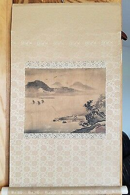 Old Antique 19thC Japanese Scroll Landscape painting Ink on Paper w/ Artist Seal