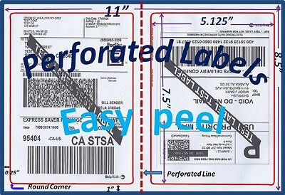 1000 Perforated Round Corner Shipping Labels 2 Per Sheet-8.5 x 11-Self Adhesive