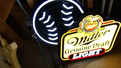 Miller Lite / Miller Genuine Draft Neon Sign baseball nice