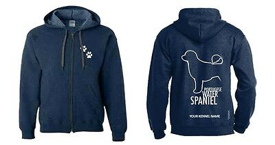 Portuguese Water Spaniel Full Zipped Dog Breed Hoodie, Dogeria Design