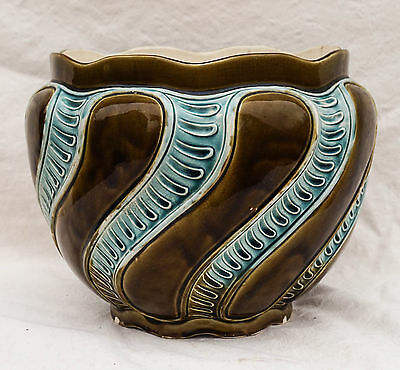 Large Victorian French FIVES LILLE Majolica Cache Pot de Bruyn Flower Vase 1880