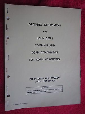 1967 John Deere Combines & Corn Attachments Ordering Info Manual
