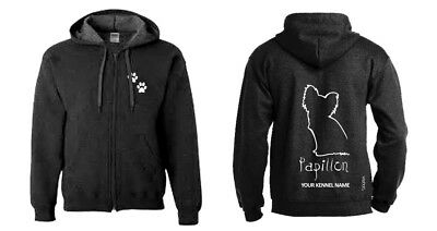 Papillon Full Zipped Dog Breed Hoodie, Exclusive Dogeria Design, Heavy Blend