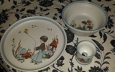 Denby Dreamweaver Egg Cup, Plate & Bowl matching boys