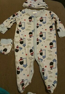 boys babygrow, hat and mittens set 3-6 months