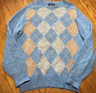 Burberrys Mens Vintage Sweater SZ Large L Blue Checkered Shetland Wool Intarsia