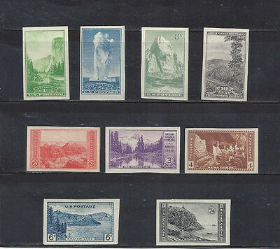 1935 Us National Parks Imperforate Partial Set Scott 756-765--Mnh