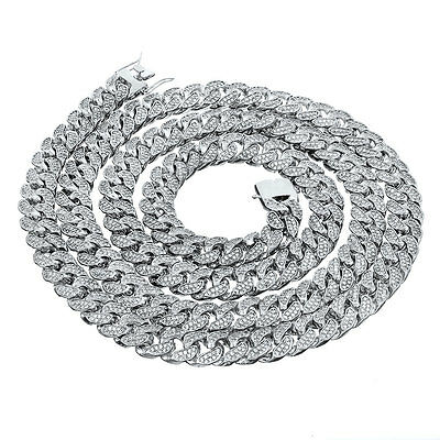 White Gold Plated Iced Out CUBAN Miami Chain Link MicroPave Lab Diamond Necklace