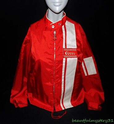 SWINGSTER VTG 70s RED NYLON COORS BEER RACING RED WHITE STRIPED JACKET L USA