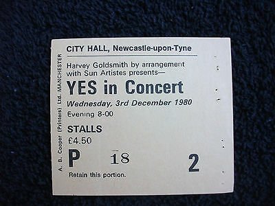 Yes 1980 ticket stub City Hall UK