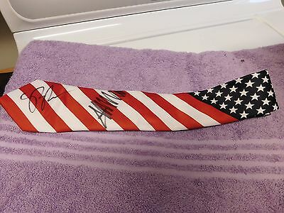 SUPER RARE - PRESIDENT DONALD TRUMP & VP PENCE signed Stars & Stripes Tie! OOAK