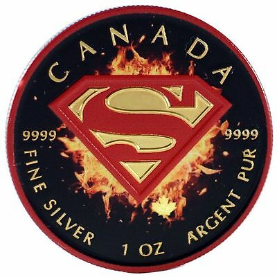 2016 1 Oz Ounce Canadian Silver Superman Coin .9999 Red Colorized Ruthenium Gold