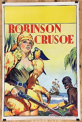 Vintage Original 1930's ROBINSON CRUSOE theater Pinup POSTER English Lithograph
