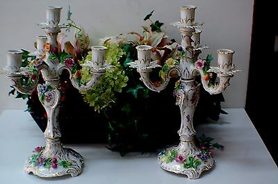Pair Of Beautiful Large 15 Inch Tall Antique Dresden Candle Holders