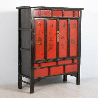 Chinese Red Painted/Lacquered Cabinet With Flowers, Circa 1820