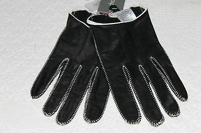 Nwt Cool Leather Driving Gloves - Xl Black W/ White Stitching - Original $48