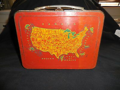 Lunch Box Metal 1954  All American Map of the United States No Thermos it