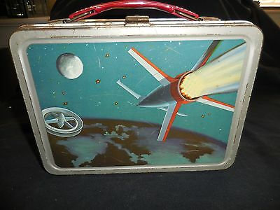 Lunch Box Metal 1958 Satellite No Thermos Mike Meyers Written Inside