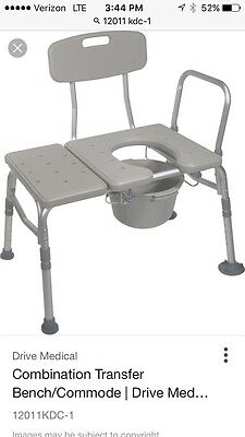 DRME-12011KDC1-Drive Medical Combination Plastic Transfer Bench with Commode Op