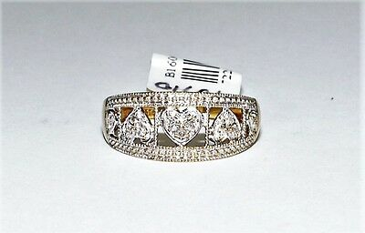 Solid 9k Yellow & White Gold Diamond Ladies Heart Dress Ring Sz L 1.7gm #722544