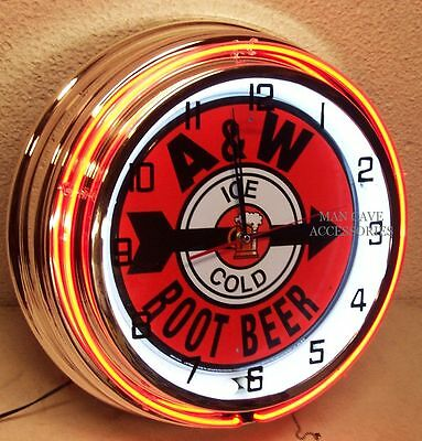 """18"""" Ice Cold A&W Root Beer Sign Double Neon Clock A & W"""
