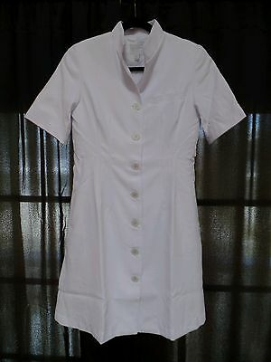 Clinique White Mandarin Collar Uniform Employee Coat Dress Esthetician Cosmetic