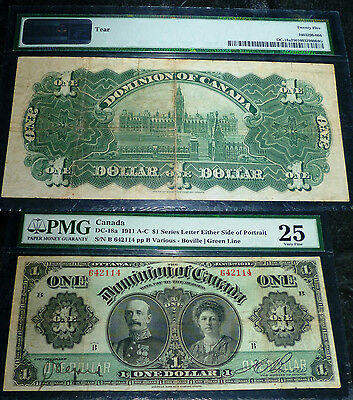 1911 $1 ,DOMINION  OF CANADA  Banknote. PMG 25, Very Fine