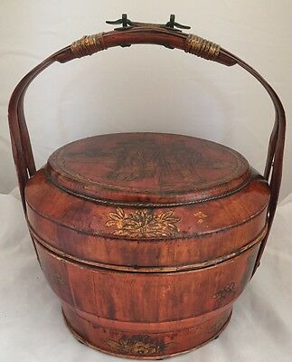 Antique Gilt Ornate Figural Hand-Painted Lacquered Chinese Wedding Basket Signed
