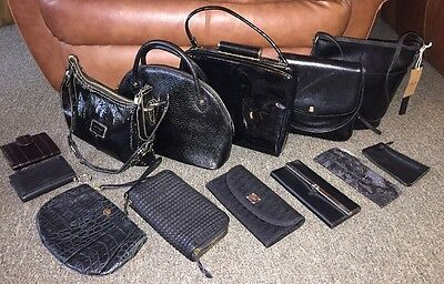 Lot of 11 Black Leather Designer Handbags Purses Wallets Lodis Ferragamo The Sak