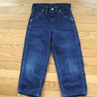VINTAGE ORIGINAL DENIM JEAN PANTS SANFORIZED DARK DENIM 1950's SNAP BUTTON