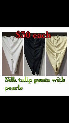 Pakistani/Indian Tulip Pants Trousers Silk White Gold Black Eid Collection