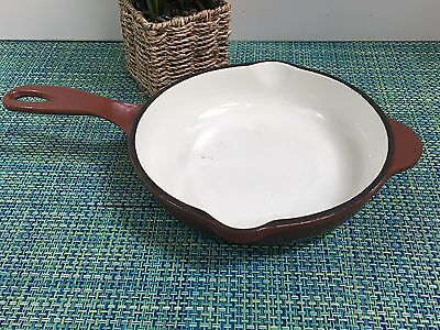"Cast Iron Enamel Skillet BY Outset 9"" Heavy Duty Fry Pan BROWN AND WHITE"