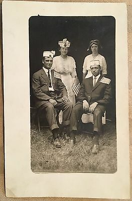 AH755 Patriotic RPPC Flag Convention Hats Political RP Real Photo PC