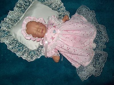 Reborn dolls clothes  Pink broderie anglaise for Premmie 12-14 inches on yoke