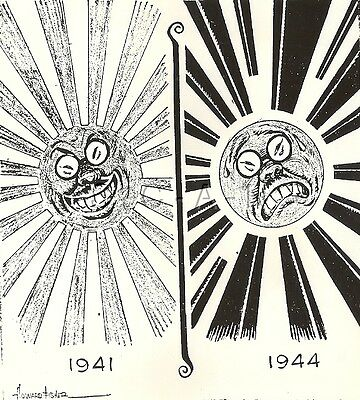 WWII Org 1944 Anti Axis Propaganda Art Cartoon Large RP- Flag- A Change of Face