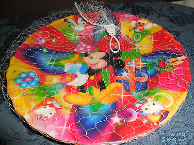 New Disney Mickey Mouse Plastic Party  Plates Set Of 4 In A Net Bag Never Used