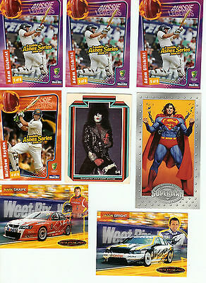 Mixed Cards,superman, Kiss,mark Scaife,jason Bright, Adam Gilchrist & M Hayden